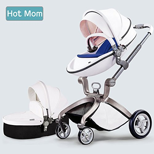 hot mom pushchair 2016 3 in 1 baby stroller travel system with bassinet white blue. Black Bedroom Furniture Sets. Home Design Ideas